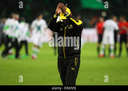 Berlin, Germany. 30th May, 2015. Borussia Dortmund coach Juergen Klopp claps hands after the German Cup (DFB Pokal) - Stock Photo