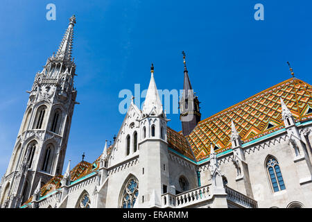 Matthias Church is a Roman Catholic church located in Budapest, Hungary, in front of the Fisherman's Bastion at - Stock Photo
