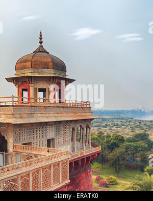 Agra Red Fort view on Taj Mahal from the tower, India, Uttar Pradesh - Stock Photo