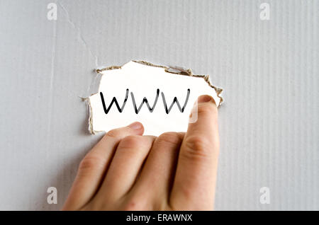 Hand and text on the cardboard background WWW - Stock Photo