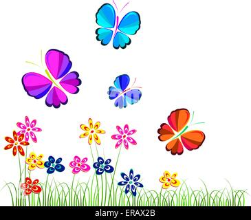 flowers and butterflies over white, illustration, vector - Stock Photo