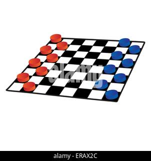 Checkers on a white background isolated - Stock Photo