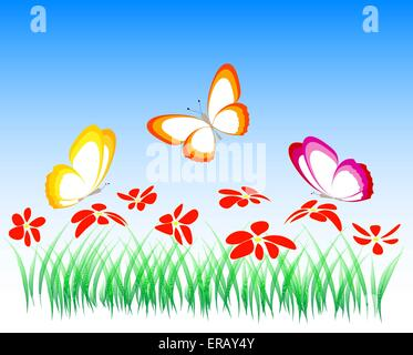 flowers and butterflies, illustration, vector - Stock Photo