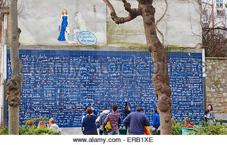 The Love Wall where the phrase 'I love you' is featured 311 times in 250 languages Jehan Rictus Square Montmartre - Stock Photo