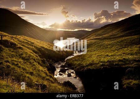 Sunset at Talla Reservoir, Talla, Tweedsmuir, Scottish Borders, Scotland - Stock Photo