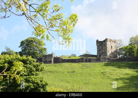 The ruins of Peveril Castle sit atop a hillside in Castleton, a pretty village in the Peak District National parK, - Stock Photo