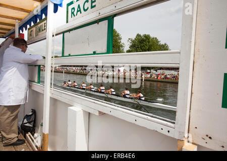 Henley Royal Regatta from behind the scoreboard - Stock Photo