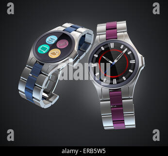 Two smart watches with metal band isolated on black background. - Stock Photo