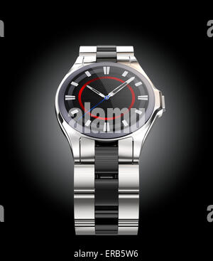 Front view of smart watch isolated on black background. Clipping path available. - Stock Photo