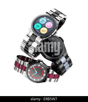 Three smart watches with metal band isolated on white background. - Stock Photo