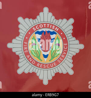 Scottish Fire and Rescue Service badge on the side of a fire engine - Stock Photo