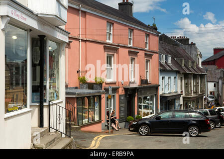 Wales, Carmarthenshire, Llandeilo, King Street, specialist independent shops in old market place - Stock Photo