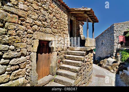 Portugal: Typical stone house in the historic village of Monsanto - Stock Photo