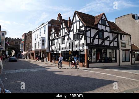 A Tudor building in Salisbury High Street, Wiltshire, United Kingdom. - Stock Photo
