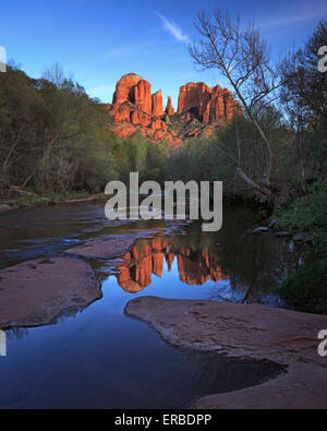 Cathedral Rock reflected in Oak Creek as seen at Red Rock Crossing in Sedona, Arizona - Stock Photo