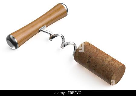 basic corkscrew with cork isolated on white background - Stock Photo