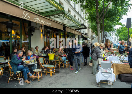 Paris, France, People Sharing Meals on Cafe Terrace, near French Garage Sale, Brocante, on Parisian Street in Le - Stock Photo