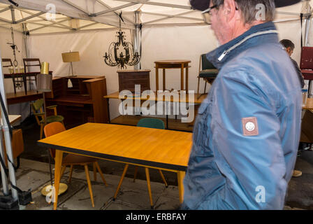 Paris, France, People Shopping, Stall, French Vintage Market Furniture Garage Sale, Brocante, on Street in Le Marais - Stock Photo