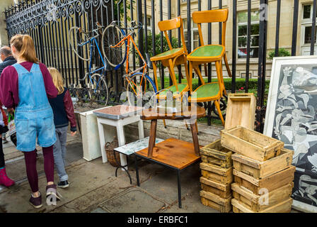 Paris, France, Teen Shopping, French Garage Sale, Brocante, Chairs on Street in Le Marais District, Rue de Bretagne, - Stock Photo