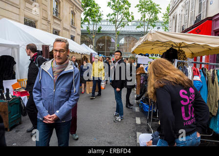 Paris, France, People Shopping French Garage Sale, Brocante, on Street in Le Marais District,  'Square du Temple' - Stock Photo