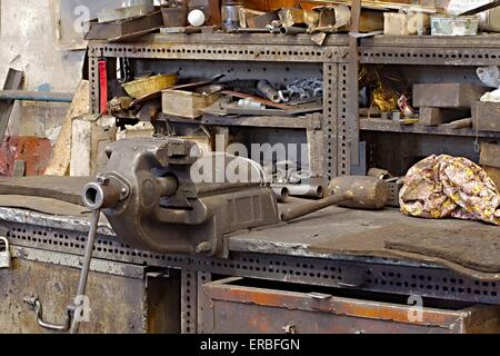 Workshop table with vise - Stock Photo