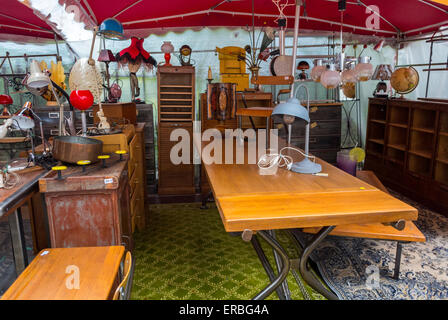 Paris, France, Vintage Marker Furniture on Display at French Garage Sale Stall, Brocante, on Street in Le Marais - Stock Photo