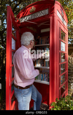A man searches for a book in the Thurlestone book exchange, located in an old telephone box in the village of Thurlestone,Devon. - Stock Photo
