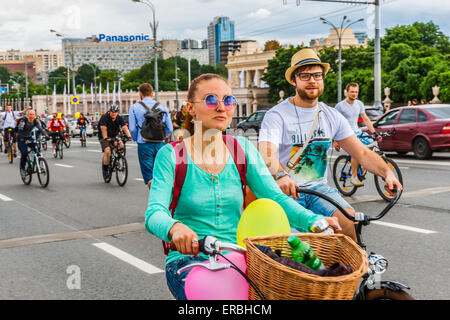 Moscow, Russia, Sunday, May 31st, 2015. 5th annual Moscow Bike Parade. The parade was organized by the Let's Bike - Stock Photo