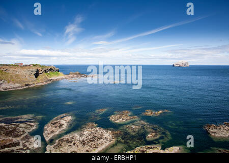 The view across to Bass Rock from Tantallon Castle on the East Lothian coastline in Scotland - Stock Photo