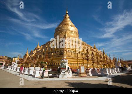 Shwezigon Zedi Pagoda in Bagan Myanmar - Stock Photo