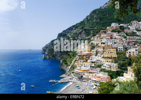 Positano panoramic view, Amalfi coast, Italy - Stock Photo