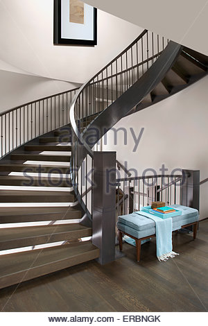 Spiral staircase in elegant home - Stock Photo