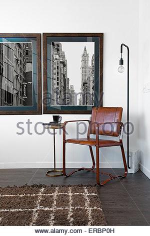 Retro art hanging on wall - Stock Photo