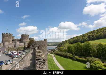 Conwy Castle from the Town Walls - Stock Photo