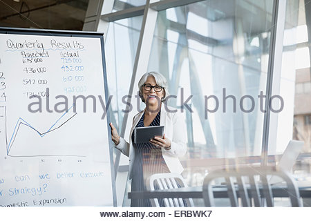 Portrait of smiling businesswoman at whiteboard  conference room - Stock Photo