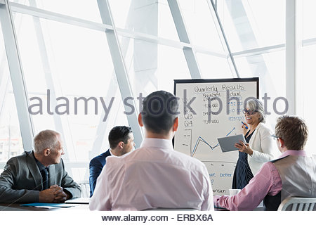 Businesswoman leading meeting at whiteboard in conference room - Stock Photo