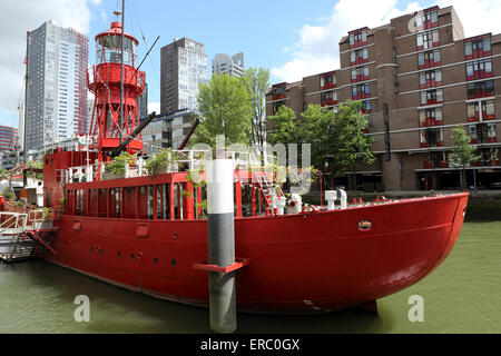The Lighthouse ship in Rotterdam, the Netherlands. - Stock Photo