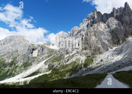panorama of the Pale di San Martino seen from Venegia valley with clouds and blue sky background in a summer afternoon, - Stock Photo