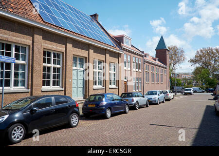 Solar panels on a community building in The Hague, Netherlands - Stock Photo