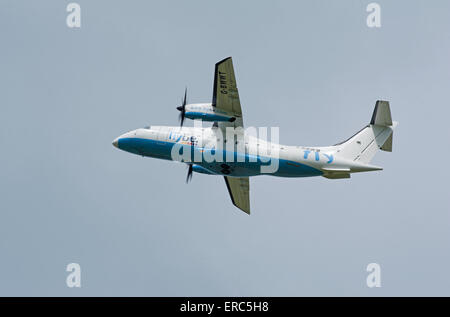Dornier 328-100 34 seater short haul FlyBe airliner working from Inverness airport.  SCO 9821. - Stock Photo