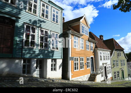 Timber buildings in the open-air museum, Gamle Bergen, outside Bergen city in Norway - Stock Photo