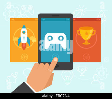 Gamification concept - digital device with touchscreen and game interface on it with award and achievement icons - Stock Photo