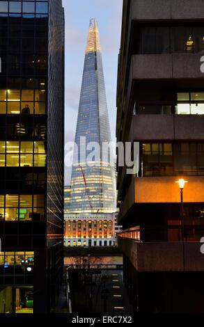 The Shard from Lower Thames Street, London Bridge Quarter, London, United Kingdom - Stock Photo