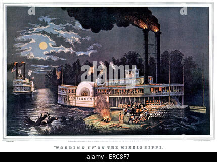 1860s WOODING UP ON THE MISSISSIPPI - CURRIER & IVES LITHOGRAPH - 1863 - Stock Photo