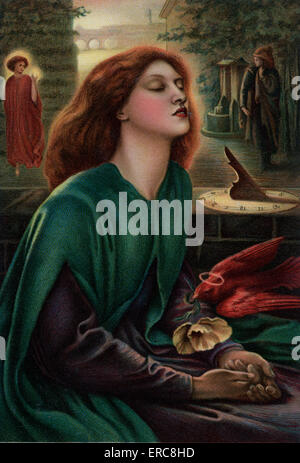 1800s 1870 PAINTING BY DANTE GABRIEL ROSETTI BEATA BEATRIX BLESSED BEATRICE PRE-RAPHAELITE - Stock Photo