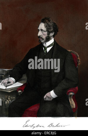 1800s 1860 PORTRAIT EDWARD BULWER LYTTON ENGLISH NOVELIST POLITICIAN PLAYWRIGHT - Stock Photo