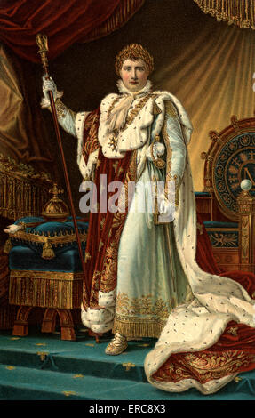 DECEMBER 2 1804 NAPOLEON I CORONATION ROBES LOOKING AT CAMERA BECOMES EMPEROR OF FRANCE AT NOTRE DAME PARIS BY FRANCOIS - Stock Photo