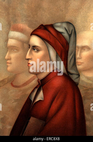 1300s 1335 FRESCO PORTRAIT OF DANTE ALIGHIERI  AND BRUNO LATINI BY GIOTTO IN PODESTA CHEPEL FLORENCE ITALY - Stock Photo