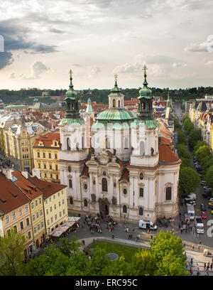 Church of St. Nicholas in Old Town Square, Prague, Czech Republic - Stock Photo