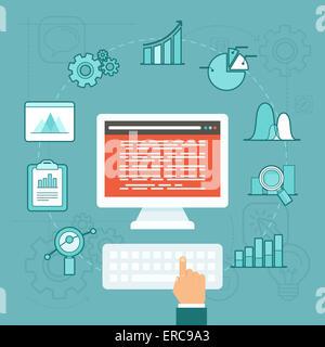 Data analytics concept in flat style - big data development - Stock Photo
